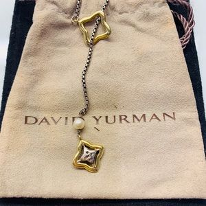 DAVID YURMAN QUATREFOIL PEARL LARIAT NECKLACE